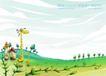 四季风景及儿童0042,四季风景及儿童,人物,缓坡 山丘 稀树
