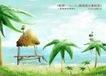 四季风景及儿童0043,四季风景及儿童,人物,椰树 茅屋 水上