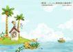 四季风景及儿童0045,四季风景及儿童,人物,小屋 岸边 滩涂