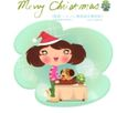 圣诞女孩0001,圣诞女孩,人物,小狗 抱上 桌面