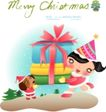 圣诞女孩0009,圣诞女孩,人物,抬起 礼物 欣喜