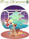 圣诞女孩0013,圣诞女孩,人物,彩灯 楼梯 装饰