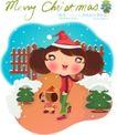 圣诞女孩0014,圣诞女孩,人物,篱笆 雪花 围裙