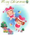 圣诞女孩0018,圣诞女孩,人物,礼物 圣诞树 小红帽