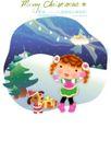 圣诞女孩0020,圣诞女孩,人物,银白 女孩 宠物