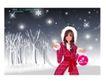 圣诞精品女孩0018,圣诞精品女孩,人物,手提袋 棉帽 银白色世界