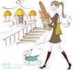 城市时尚生活0019,城市时尚生活,人物,楼梯 宠物狗 挎包
