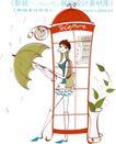 城市时尚生活0032,城市时尚生活,人物,电话亭 雨伞 女孩