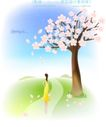 天使插画0002,天使插画,人物,果树 开花 满枝