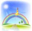 天使插画0008,天使插画,人物,坐卧 顶部 阳光