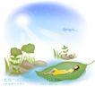 天使插画0012,天使插画,人物,树叶船 躺着 小河