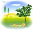 天使插画0013,天使插画,人物,农场 篱笆 牛