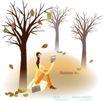 天使插画0026,天使插画,人物,树枝 秋天 成熟