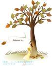 天使插画0027,天使插画,人物,倚靠 凋落 树叶