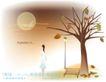 天使插画0029,天使插画,人物,天空 树干 背影