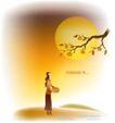 天使插画0033,天使插画,人物,柿子树 竹篮 树下女孩