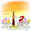 天使插画0037,天使插画,人物,邮筒 信封 小花园