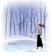 天使插画0039,天使插画,人物,枯树林 下雪天 雪中女孩