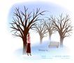 天使插画0040,天使插画,人物,长椅 冬天 倚树女孩
