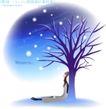 天使插画0041,天使插画,人物,靠坐 光秃 枯树