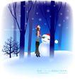 天使插画0043,天使插画,人物,雪人 伴倍 女孩
