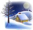 天使插画0045,天使插画,人物,雪夜 小屋 圆月
