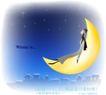 天使插画0046,天使插画,人物,黄色 弯月 情思