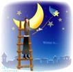 天使插画0047,天使插画,人物,木梯 攀爬 星月