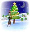 天使插画0049,天使插画,人物,制做 圣诞树 装饰
