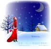 天使插画0050,天使插画,人物,漫天 飘雪 红衣