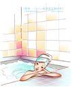 女子运动0002,女子运动,人物,趴靠 浴池 边缘