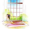 女子运动0005,女子运动,人物,俯卧撑 撑起 落地窗