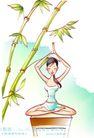 女子运动0007,女子运动,人物,竹林 打坐 瑜伽
