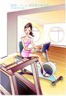 女子运动0008,女子运动,人物,室内 单车 蹬骑