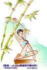 女子运动0012,女子运动,人物,竹子 瑜伽 台子