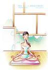 女子运动0017,女子运动,人物,打坐 盘腿 框架