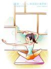 女子运动0020,女子运动,人物,垫子 地板 伸展