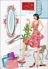 女性服饰购物0013,女性服饰购物,人物,装饰 照镜子 购物狂
