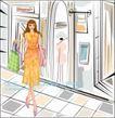 女性服饰购物0020,女性服饰购物,人物,试衣间 镜子 购物袋