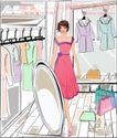 女性服饰购物0023,女性服饰购物,人物,镜子 欣赏 试衣间