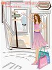 女性服饰购物0032,女性服饰购物,人物,铺面 十字路口 公交车站