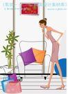 女性服饰购物0034,女性服饰购物,人物,沙发 抱枕 盆景