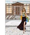 女性服饰购物0035,女性服饰购物,人物,街道 女孩 满载而归
