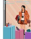 女性服饰购物0036,女性服饰购物,人物,扎辫子的女孩 高跟鞋 化妆品