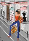 女性服饰购物0037,女性服饰购物,人物,红色吊带衣女孩 服装店 街道上