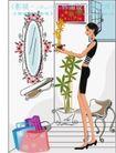 女性服饰购物0038,女性服饰购物,人物,椭圆形镜子 椅子 黑色紧身衣女孩