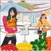 女性服饰购物0039,女性服饰购物,人物,长面包 青菜 西红柿