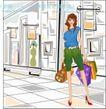 女性服饰购物0041,女性服饰购物,人物,街头 步行街 提袋