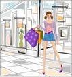 女性服饰购物0043,女性服饰购物,人物,喜悦 走出 商店