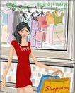 女性服饰购物0046,女性服饰购物,人物,走过 透明 橱窗